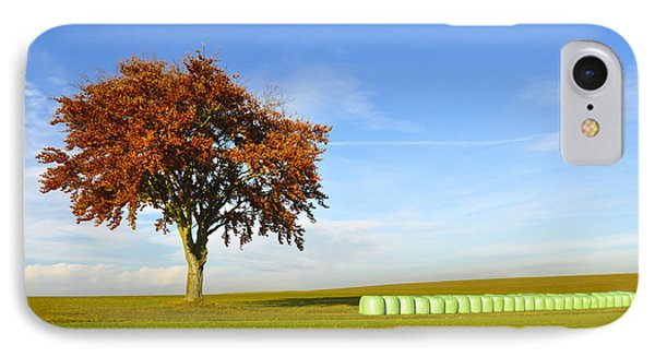 Tree And Hay Bales Phone Case by Aged Pixel