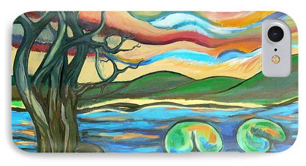 Tree And Lilies At Sunrise Phone Case by Genevieve Esson