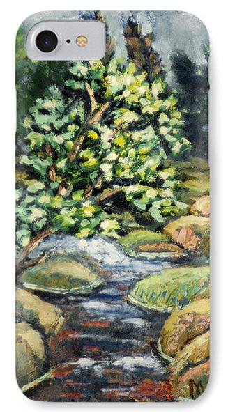 IPhone Case featuring the painting Tree And Stream by Michael Daniels
