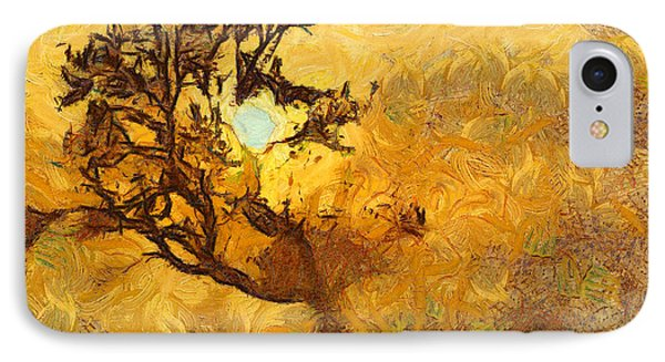 Tree At Sunset - Digital Painting In Van Gogh Style With Warm Orange And Brown Colors IPhone Case by Matthias Hauser