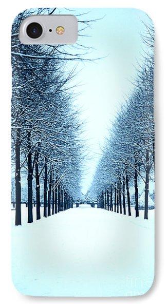 Tree Avenue In Snow IPhone Case