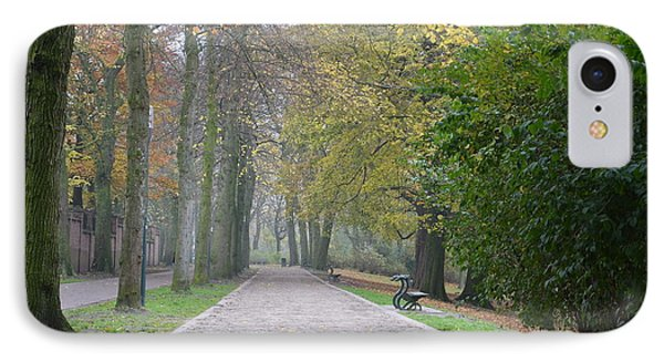 IPhone Case featuring the photograph Tree Lined Path In Fall Season Bruges Belgium by Imran Ahmed