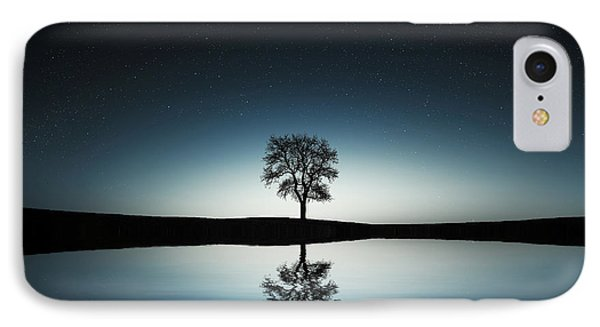 Tree Near Lake At Night IPhone Case by Bess Hamiti