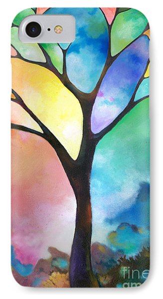 Original Art Abstract Art Acrylic Painting Tree Of Light By Sally Trace Fine Art IPhone Case by Sally Trace