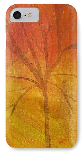 IPhone Case featuring the painting Tree Of Three Gold by Robin Maria Pedrero
