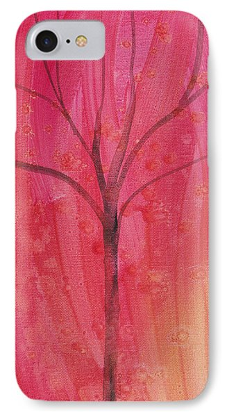 IPhone Case featuring the painting Tree Of Three Pink by Robin Maria Pedrero