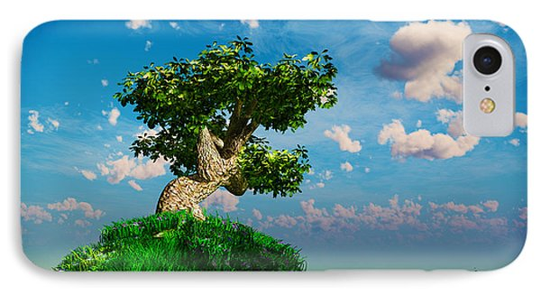 IPhone Case featuring the digital art Tree On A Steep Hill... by Tim Fillingim