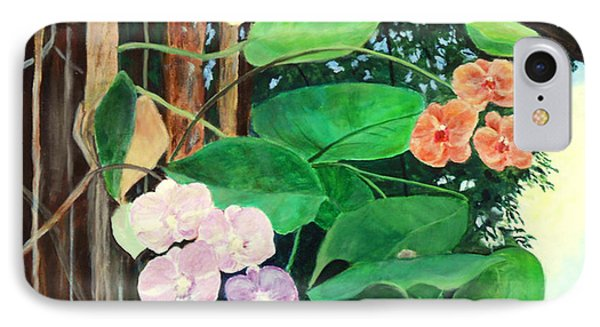 IPhone Case featuring the painting Tree Orchids by Nancy Czejkowski