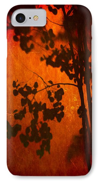 Tree Shadow On Fiery Wall IPhone Case by Dave Garner