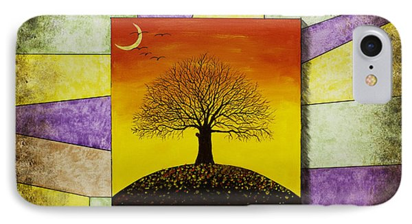 Tree Silhouette And Crescent Moon At Sunset Painting IPhone Case by Keith Webber Jr