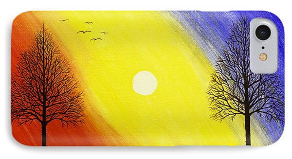 Tree Silhouette At Sunset Painting Phone Case by Keith Webber Jr