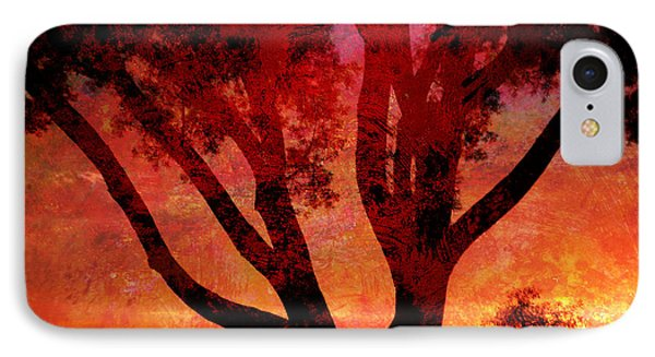 Tree Silhouette In Sunset Abstraction IPhone Case
