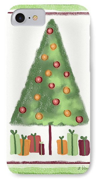 IPhone Case featuring the digital art Tree With Presents by Arline Wagner