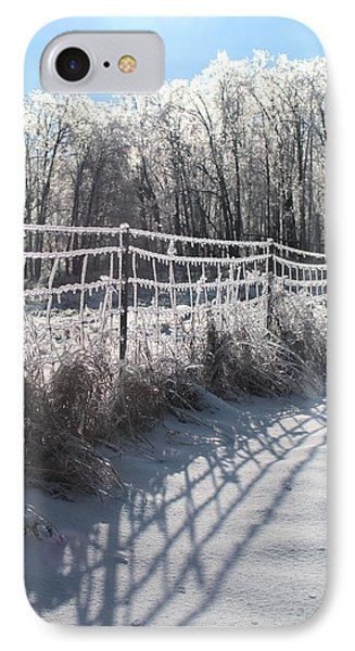 Trees And Fence IPhone Case by Douglas Pike