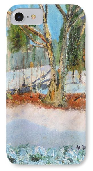 IPhone Case featuring the painting Trees And Snow Plein Air by Michael Daniels