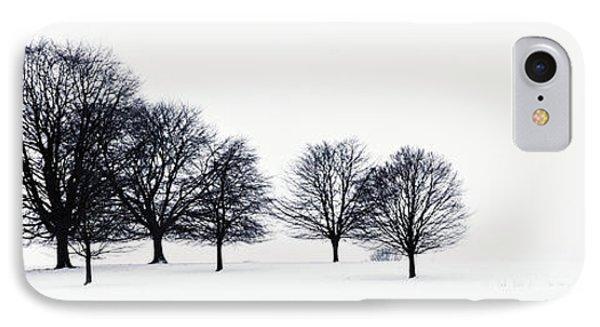 Trees In A Snowy Field In Chatsworth Phone Case by John Doornkamp