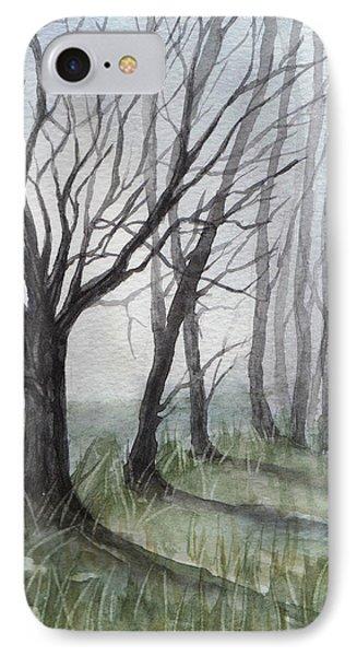 Trees In Fog IPhone Case by Rebecca Davis