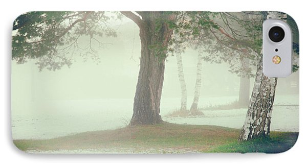 IPhone 7 Case featuring the photograph Trees In Fog by Silvia Ganora