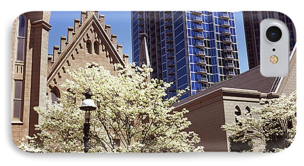 Trees In Front Of A Building IPhone Case by Panoramic Images