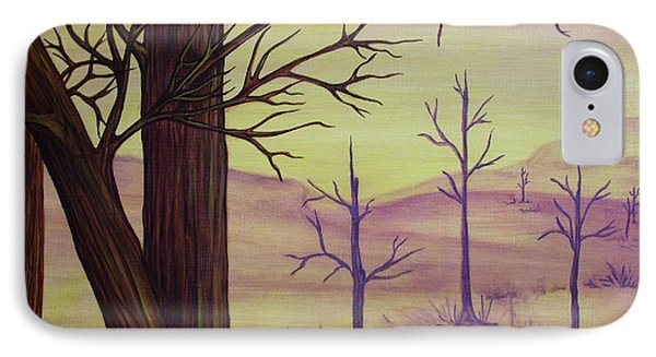 Trees In Gold Landscape Phone Case by Jan Wendt