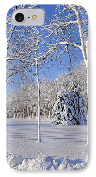 Trees In Snow  Wisconsin IPhone Case by Anonymous