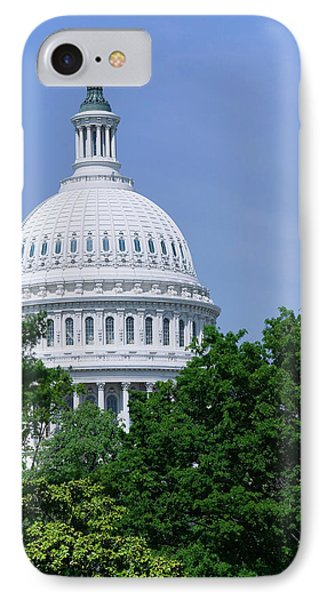 Capitol Building iPhone 7 Case - Trees In Spring And U.s. Capitol Dome by Panoramic Images