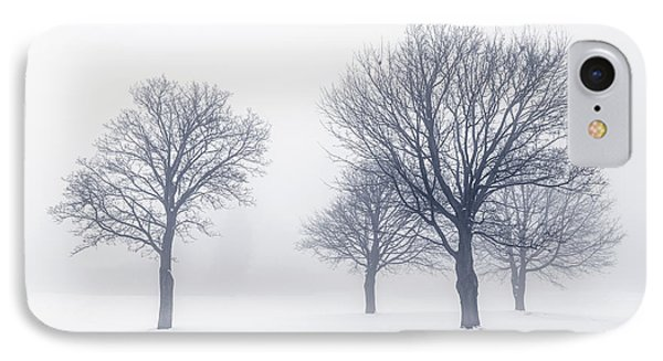 Trees In Winter Fog IPhone Case by Elena Elisseeva