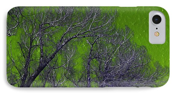 Trees On Green Sky IPhone Case