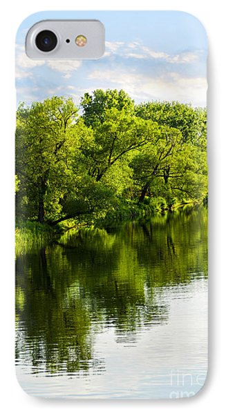 Trees Reflecting In River Phone Case by Elena Elisseeva