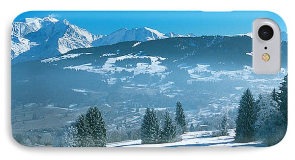 Trees With Snow Covered Mountains IPhone Case by Panoramic Images