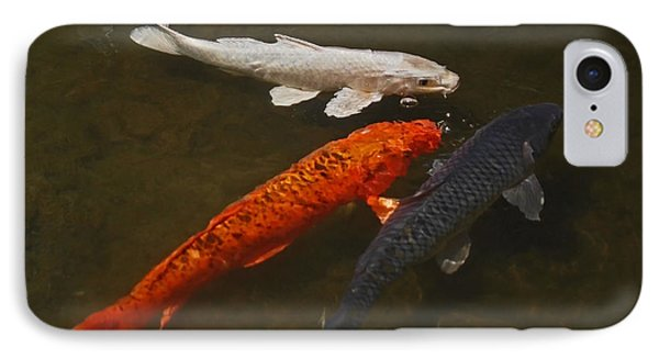 Tri-colored Koi IPhone Case by Rona Black