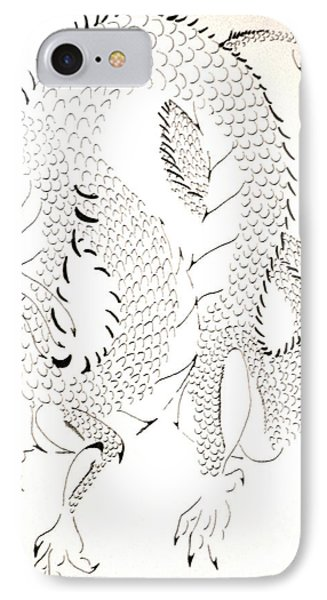 IPhone Case featuring the drawing Tribal Dragon by Wendy Coulson