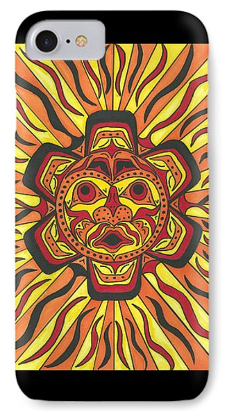 IPhone Case featuring the painting Tribal Sunface Mask by Susie Weber
