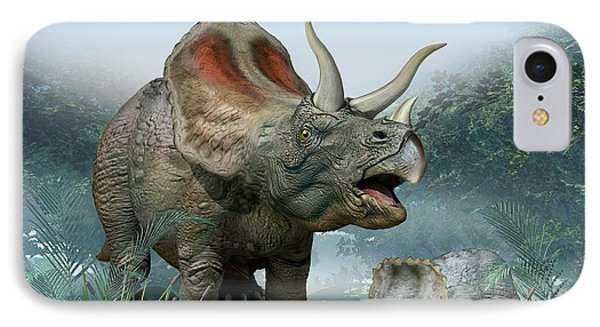 Triceratops Old And Young IPhone Case