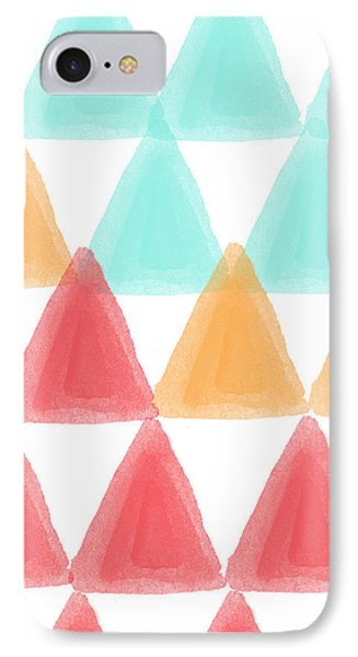 Trifold- Colorful Abstract Pattern Painting IPhone 7 Case by Linda Woods