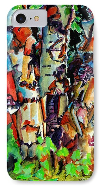 IPhone Case featuring the painting Trio Birch 2014 by Kathy Braud