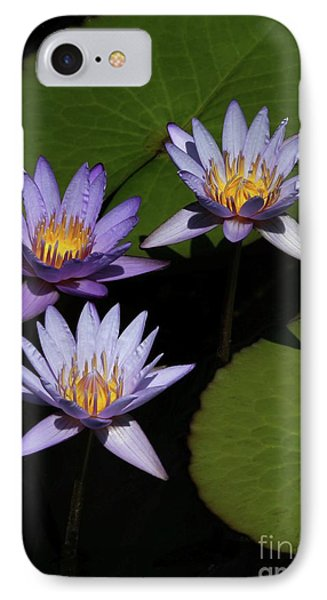 Trio Of Purple Water Lilies Phone Case by Sabrina L Ryan