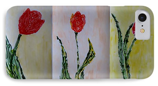 Trio Of  Red Tulips Phone Case by Sonali Gangane