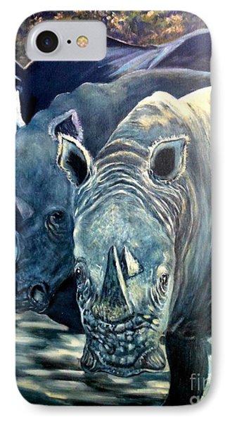 Trio Of Rhino Phone Case by Caroline Street