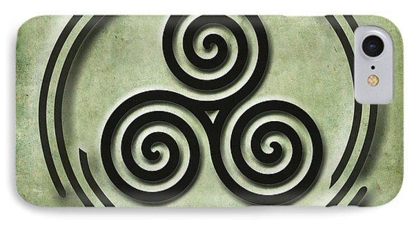 IPhone Case featuring the painting Triple Spiral Black And Green Celtic Art by Kandy Hurley