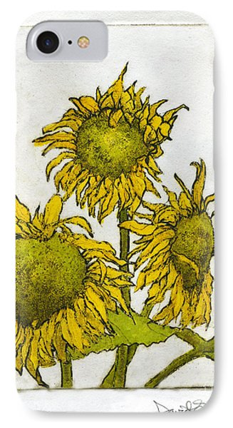 Triple Sunflowers Etching IPhone Case