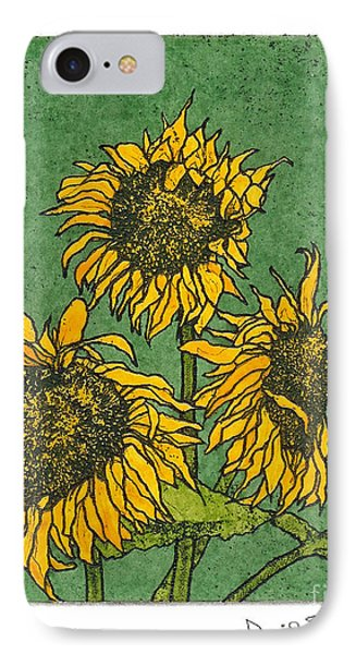 Triple Sunflowers Etching With Full Background IPhone Case