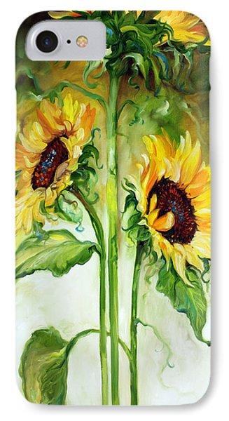 Triple Sunny Sunflowers IPhone Case by Marcia Baldwin