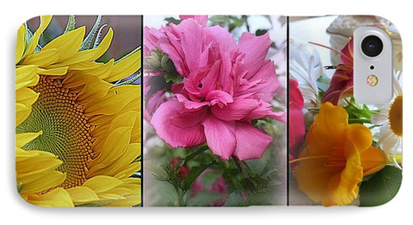 Triptych Of Summer Florals Phone Case by Kay Novy