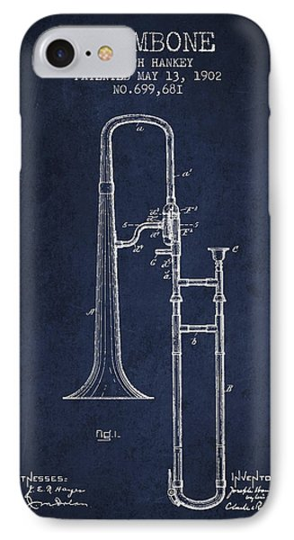 Trombone iPhone 7 Case - Trombone Patent From 1902 - Blue by Aged Pixel