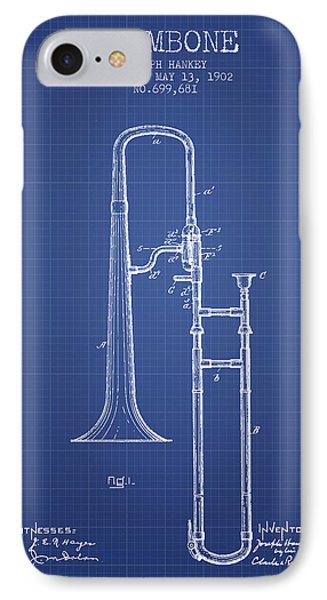 Trombone iPhone 7 Case - Trombone Patent From 1902 - Blueprint by Aged Pixel