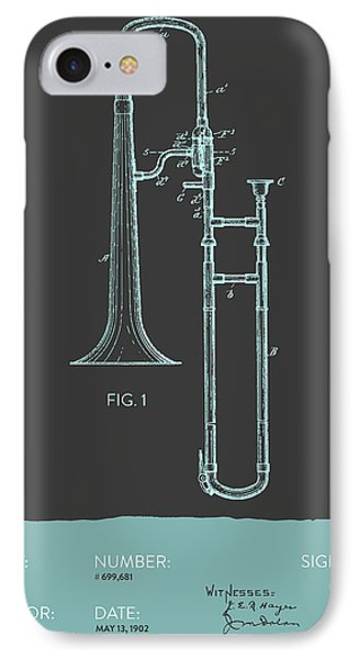 Trombone iPhone 7 Case - Trombone Patent From 1902 - Modern Gray Blue by Aged Pixel