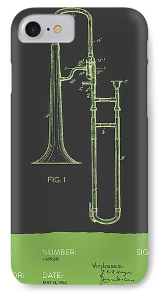 Trombone iPhone 7 Case - Trombone Patent From 1902 - Modern Gray Green by Aged Pixel