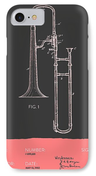 Trombone Patent From 1902 - Modern Gray Salmon IPhone 7 Case by Aged Pixel