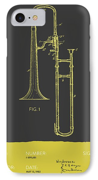 Trombone iPhone 7 Case - Trombone Patent From 1902 - Modern Gray Yellow by Aged Pixel